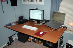 My Setup (p0intblank) Tags: apple mac ikea jerker desk computer dell fpw monitor macos macosx osx windows windowsxp widescreen design gaming hard drive mouse keyboard powerbook macintosh notebook laptop onebutton mousepad thinkdifferent speaker subwoofer cambridge soundworks cell phone graphics video isight camera focus wireless bluetooth