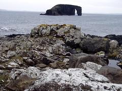 'The drinking horse' (Felix van de Gein) Tags: uk blue sea nature rock island islands coast scotland photo europe hole offshore north culture natuur social 2006 research shetland anthropology cultural eiland kust eilanden noth shetlandislands shetlandeilanden northmavine shetlandisland