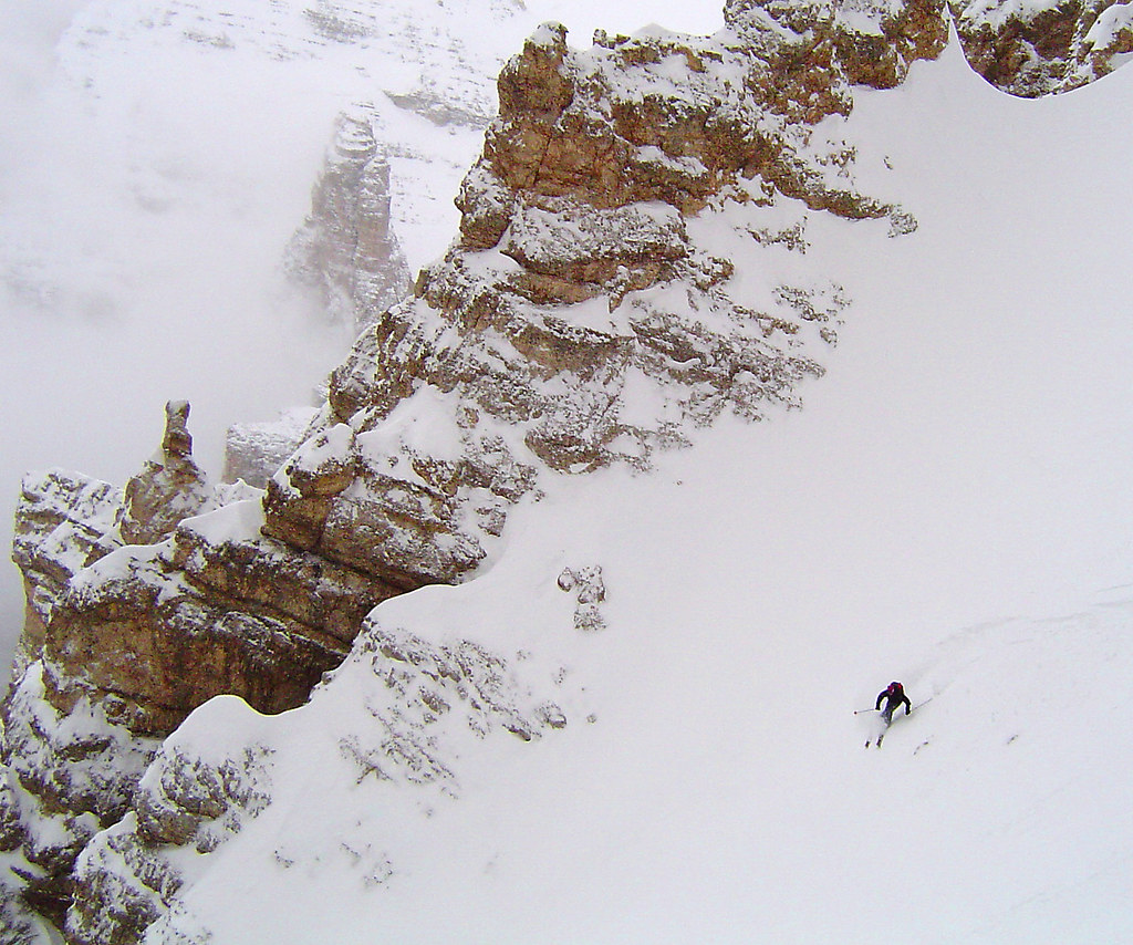 Dr Cary Smith skis in the Italian Dolomites