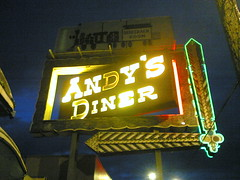 Andys Diner neon may be gone, but the trains roll on as Orient Express. Photo by Buster McLeod.
