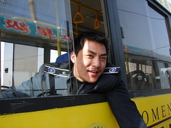 My 2nd favourite bus driver (Helga's Lobster Stew) Tags: china windows bus window yellow drive university busdriver chinese driver  shanxi    yuncheng