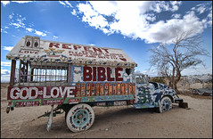 Leonard Knight's Repentmobile is stuck in the sand (shadowplay) Tags: love desert god jesus mojave bible 12mm repent redemption salvationmountain slabcity godislove niland leonardknight