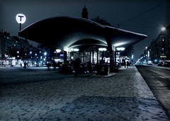 moody blues at odenplan ([phil h]) Tags: street nightphotography blue winter 15fav snow cold topf25 topv111 topv2222 architecture night 1025fav 510fav dark t lights topf50 topv555 topv333 topf75 moody 500plus minolta sweden stockholm topv444 gimp blues 2006 fv5 topv222 blogged topv777 konica february a200 topv666 dimage weeklysurvivor ssb odenplan konicaminolta tunnelbanan 13x18 weeklyblog38
