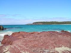 (pierre pouliquin) Tags: ocean blue red beach water rock azul ilovenature rouge coast rojo eau pacific australia bleu shore nsw southcoast saltwatercreek sapphirecoast benboyd specnature