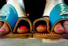 BLUE OGRE (Pink Sushi) Tags: leather aqua toes handmade turquoise traditional slippers najdy