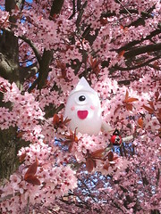 Obake in bloom (elewa) Tags: pink tree handmade ghost knit craft softie kawaii bloom knitted obake