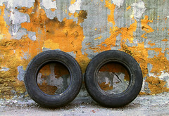 Abadoned Duo (Sol Lang) Tags: two abstract wall trash twins great tires discarded impressive top111 leplateau sollang netneutrality utatafeature heutekunst
