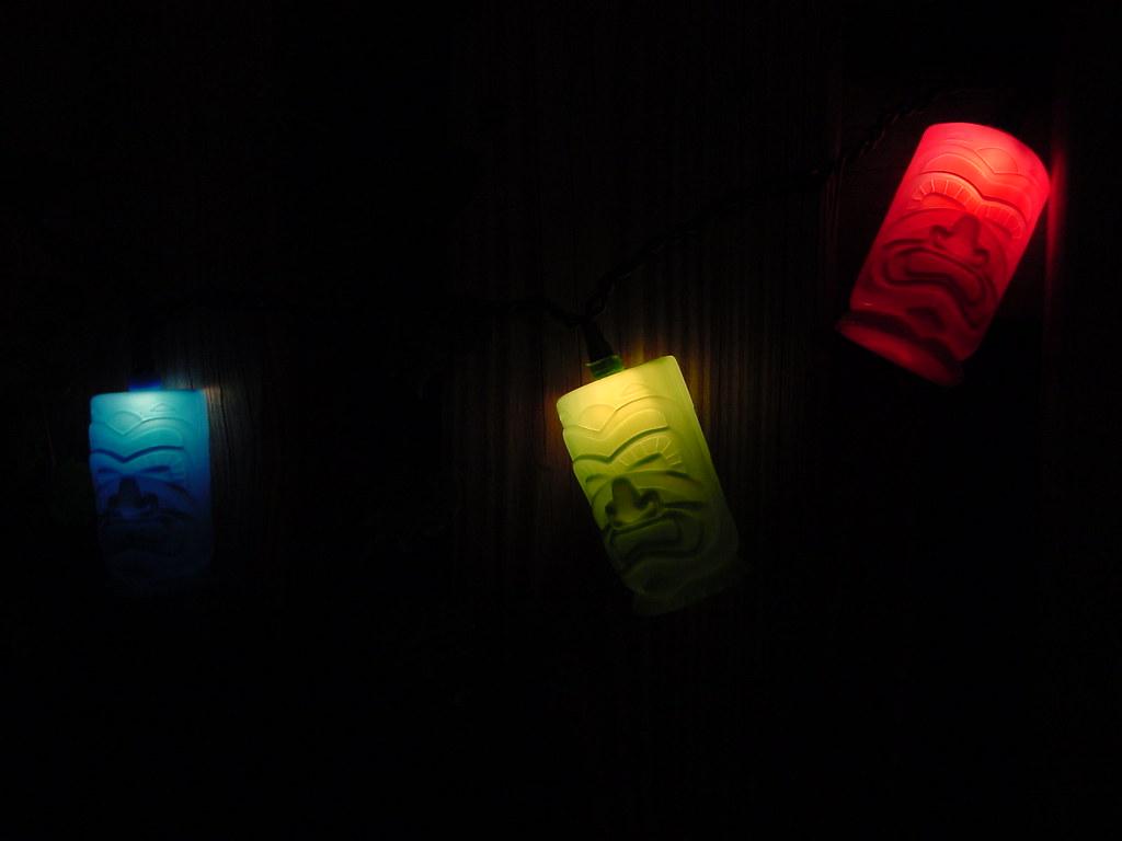 Patio tiki lights, up close