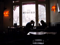 Cafe Katoen (dumell) Tags: snow holland window coffee amsterdam table cafe quiet stock smoking clocktower ashtray katoen cafekatoen