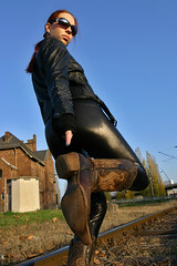 Cora 17 (The Booted Cat) Tags: sexy red hair model girl woman leather boots cowboyboots leggins jacket