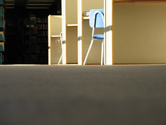 blue chair (emdot) Tags: light shadow chair desk interior library cubicle cube academic fromthefloor libslibs librariesandlibrarians ll100