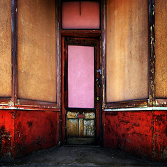 in a western town (astrocruzan) Tags: door morning pink red utah forsakenplaces ogden 25thstreet bemine gowestyoungman illtakedoor3 behindthepinkdoor lockedandloaded