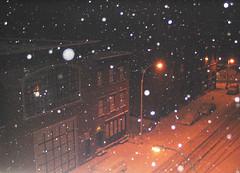 Feb 2006 Blizzard, 3am grit & flakes Img_1221 (Lanterna) Tags: street nyc newyorkcity winter urban snow lamp architecture night snowflakes snowstorm lonely blizzard lanterna greenwichvillage