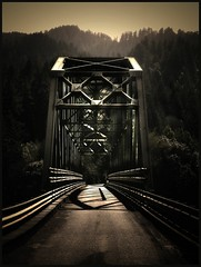 "one lane bridge on the rogue (jody9) Tags: bridge oregon bravo rogueriver goldbeach magicdonkey utatafeature abigfave artlibre anawesomeshot colorphotoaward impressedbeauty utata:color=black superbmasterpiece flickrdiamond ""xpo"" utata:project=upportfolio"