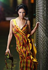 Industrial Elegance (Ryan Brenizer) Tags: nyc newyorkcity red woman newyork sexy girl beautiful fashion yellow model colorful pretty fuji bokeh manhattan flash depthoffield desi april adi elegant columbiauniversity 2007 sb800 85mmf14d s5pro