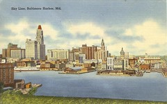 Baltimore Skyline (Cowtools) Tags: skyline port crane linen postcard baltimore ephemera vintagepostcard