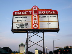 Alamo Drafthouse marquee with Shooter, 300 and Grindhouse movies named, among others