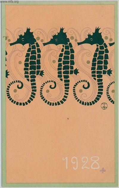Takahashi Haruka, New Yar's Card, Seahorses, 1928