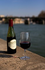 Beaujolais on the Bank (kai_ross) Tags: red paris france reflection glass lunch spring wine weekend first sunny perfectday unesco worldheritagesite refraction beaujolais canonef2470mmf28lusm cathédralenotredamedeparis banksoftheseine
