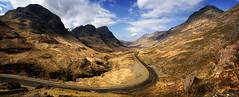 Glencoe #2 (gms) Tags: road panorama mountains yellow scotland glen glencoe aonacheagach nikonstunninggallery buchailleetivebeag bideannambeinn