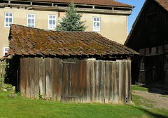 The big one and the little one (:Linda:) Tags: door roof house architecture barn germany tile wooden moss village decay thuringia flechte dach tür dachziegel moos browndoor rooftile henfstädt madeofwood dachschindel braunetür ausholzgemacht holzgegenstand