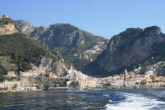 The view back to Amalfi as we head to Capri by ferry