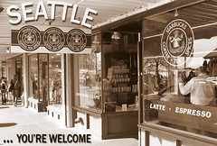 Seattle Postcard #1 (PunkJr) Tags: seattle sepia postcard explore starbucks pikeplacemarket cwd cwdgs tacwdd cwdweek15 cwd153 cwdgs15