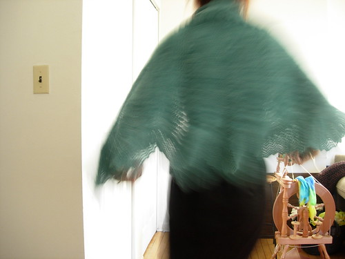 Action Shot of the Bloom Shawl