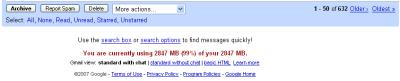 gmail-brak miejsca