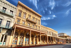 Old Sacramento and Teetering Wells Fargo (Stuck in Customs) Tags: pictures california blue sky panorama lines composition work photography town intense nikon shoot photographer shot angle photos unique background details d2x perspective wells images best edge processing pro sacramento wellsfargo framing capture fargo hdr oldsacramento treatment oldwest mostviewed highquality stuckincustoms treyratcliff