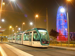 Barcelona (So Cal Metro) Tags: barcelona night lights spain tour trolley tram transit agbartower streetcar alstom tramway agbar citadis alsthom