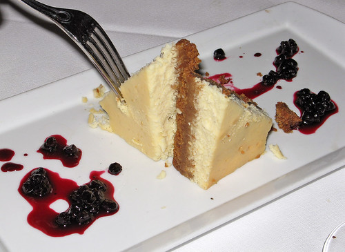 Ricotta Cheesecake with Huckleberry Sauce