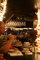 a blurry shot inside J's Oyster Bar