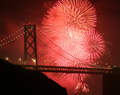 Fireworks and the Bay Bridge (Rob Kroenert) Tags: sanfrancisco california bridge red usa night bay san francisco long exposure fireworks kaboom baybridge kfog sfchronicle 96hrs sfchronicle96hrs