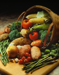 Harvest Bounty (fhansenphoto) Tags: food green vegetables garden potatoes beans corn basket yams onions asparagus garlic tomatos brussel sprouts cornucopia brocolli
