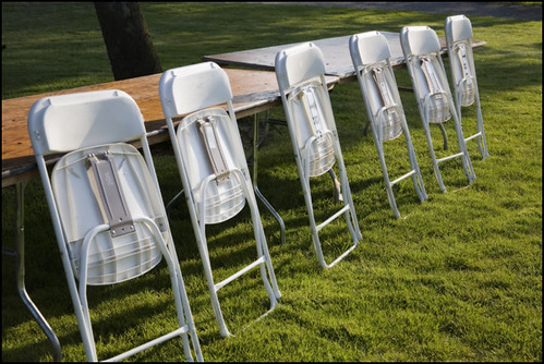 in an post-apocalyptic land, we set out chairs for people who don't come and we are constantly celebrating birthdays