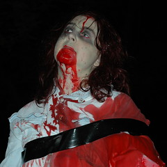 would you lend a hand? (badjonni) Tags: red people colour girl night dead costume blood colorful zombie 200 horror undead 100 300 armless zombiewalk