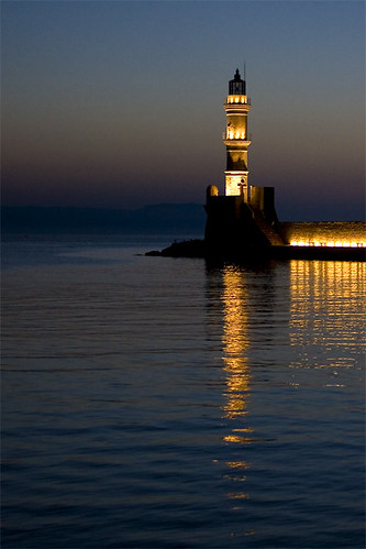 Chania lighthouse by dusk
