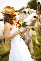 Love that donkey (emilycm) Tags: portrait bride country donkey 85mm land bouquet weddingdress nikkor f18 cowboyhat magical superhearts trashthedress