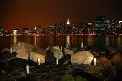 A View from Long Island, New York, New York (Seven Seconds Before Sunrise) Tags: nyc newyorkcity roses newyork building water skyline architecture night landscape candles nightscape unitedstates manhattan romance longisland