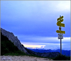 Which way to go? (roomman) Tags: trip blue sky mountain mountains alps nature sign way walking mnchen austria tirol view post walk hill go htte hans haus device hills valley anton signpost thealps tor alp ways dav wilder 2007 stiege valles kufstein berger waypoint oberland gpc stieg alpenverein wilderkaiser rinne karg kaisertal zahmerkaiser steinerne zahmer steinernerinne ellmauertor ellmauer stripsenjoch kaisergebirge stripsenjochhaus deutscheralpenverein hansbergerhaus antonkarghaus oberlandmnchen antonkarg hansberger jubilumsstieg griessner griessneralm eggerstieg gaudeamushtte kaiservalley