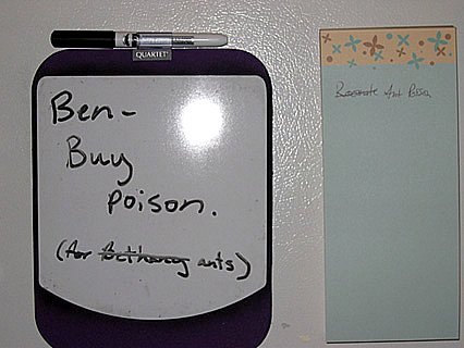 Ben - Buy poison. (For [Bethany] ants)