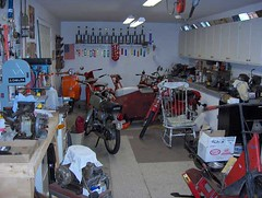 My Cushman scooter shop (Howard33) Tags: home bike shop honda saw vespa basement delta scooter tools collection workshop transportation license trophy cushman benelli