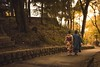 Walk in a park (Syahrel Azha Hashim) Tags: autumn twopersons walking sony 2016 fall holiday simple kyoto details a7ii couple local fushimiinari ilce7m2 traditional dof season people handheld 35mm outdoor vacation sonya7 prime light road naturallight traditionalclothing japanese shallow path travel syahrel colorful getaway colors park humaninterest colorimage japan detail