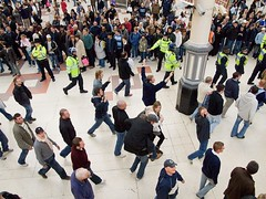 Swansea football supporters with Police escort...