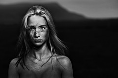 Child of Nature (LalliSig) Tags: summer portrait blackandwhite bw woman mountain cold girl night dark landscape iceland cool blurry eyes highcontrast gaze theface bwdreams cvt40