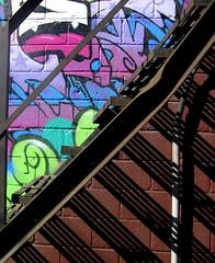 Colour and line (Sue, Toronto) Tags: shadow toronto graffiti escape abigfave