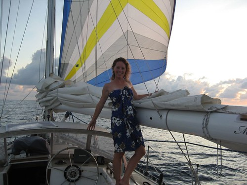 Ginger and spinnaker at sunset