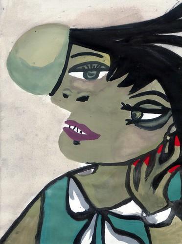 蓁妮的畢卡索臨摹畫-portrait_femme