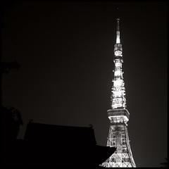 Tokyo monochrome night #11 (mechanics) Tags: city longexposure urban blackandwhite bw white black building tower 120 6x6 tlr film japan architecture night rollei rolleiflex mediumformat square tokyo asia kodak tmax may  tokyotower nippon  minatoku f28  minato nihon kanto mechanics zojoji 2007 planar urbanlife  80mm may1  selfdevelop may2007 28fx may12007